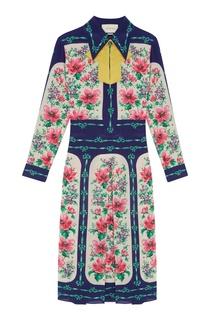 Шелковое платье-рубашка Gucci