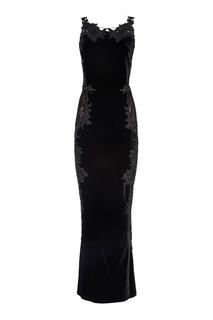 Бархатное платье с вышивкой Marchesa
