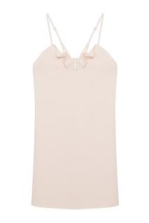 Нюдовое платье с отделкой Carven