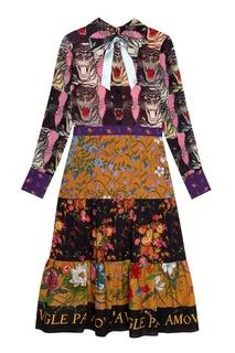 Платье с принтом Gucci
