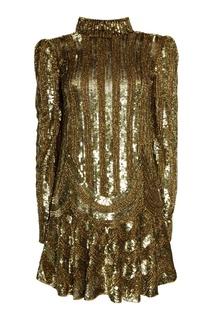 Платье с золотистыми пайетками Marc Jacobs