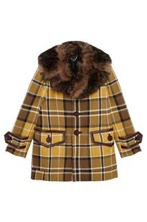 Пальто из шерсти с меховым воротником Marc Jacobs