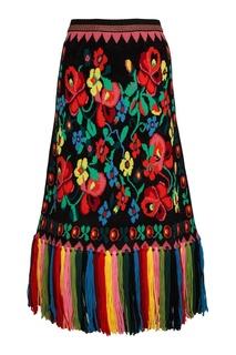 Шерстяная юбка с цветочным узором Gucci