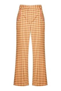 Льняные брюки в клетку Nina Ricci