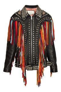 Кожаная куртка с бахромой Gucci