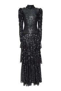 Черное платье-макси с пайетками Alessandra Rich