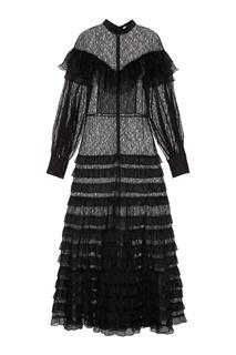Платье-макси с оборками Alessandra Rich