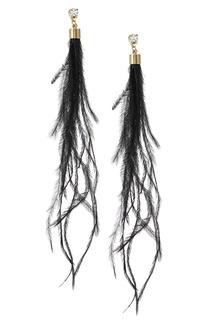 Серьги с перьями павлина Lisa Smith