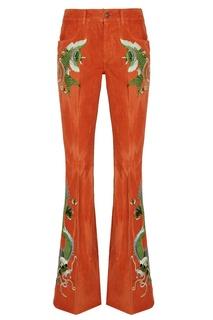 Вельветовые брюки с вышивкой Gucci