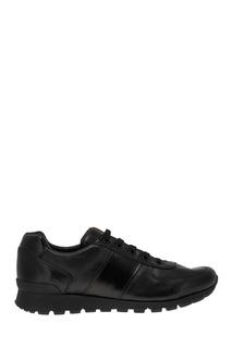 Черные кроссовки из кожи Prada