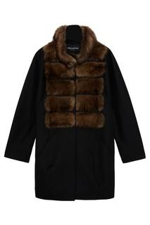 Черное пальто из кашемира с мехом соболя Dreamfur