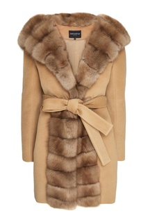 Бежевое пальто с мехом куницы Dreamfur