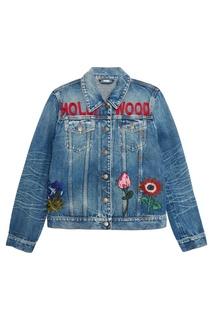 Джинсовая куртка с вышитыми цветами Gucci