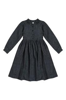 Платье-рубашка из шерсти и шелка LU Kids