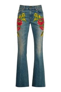 Джинсы с цветочной вышивкой Gucci