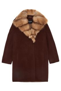 Пальто из кашемира с воротником из меха куницы Dreamfur