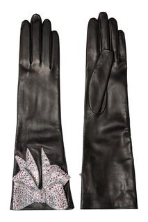 Кожаные перчатки с бантом Gucci