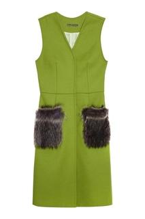 Зеленый жилет из кашемира с мехом енота Dreamfur