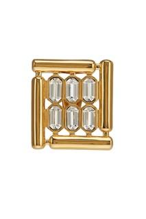 Золотистая моносерьга с кристаллами Balenciaga