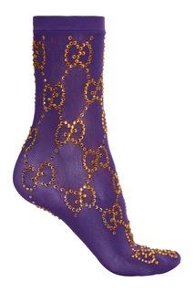 Фиолетовые носки с кристаллами Gucci