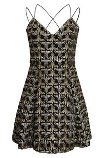 Платье с вышивкой люрексом Alice + Olivia