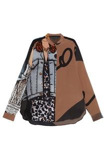 Шелковая блузка с комбинированным принтом Alexander Terekhov