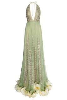 Платье из сетки с вышивкой кристаллами Gucci