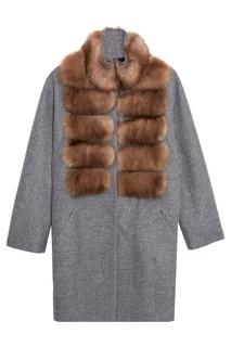 Меланжевое пальто из кашемира с мехом куницы Dreamfur