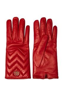Красные кожаные перчатки Gucci