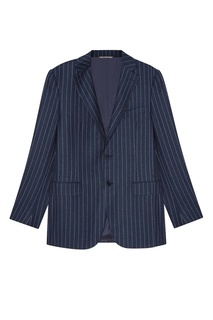 Синий шерстяной костюм-двойка Canali