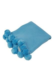 Голубой плед из шерсти с помпонами La Petite Joie