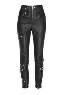 Кожаные брюки с молниями и кнопками Alexander Mc Queen