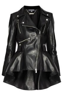 Кожаная куртка с асимметричной баской Alexander Mc Queen