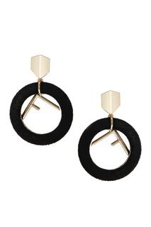Серьги с бархатными кольцами черные Lisa Smith