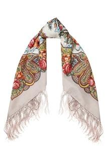 Бежевый платок с розами и лилиями Павловопосадская Платочная Мануфактура