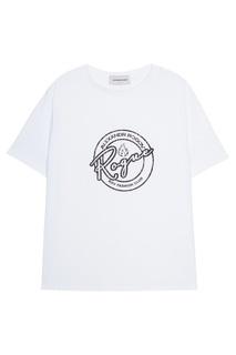 Белая футболка с принтом Alexandr Rogov