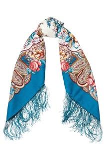 Бирюзовый платок с розами и лилиями Павловопосадская Платочная Мануфактура
