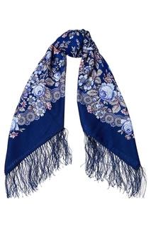 Синий платок с мелкими розами Павловопосадская Платочная Мануфактура