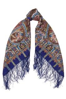 Синий платок с восточным орнаментом Павловопосадская Платочная Мануфактура