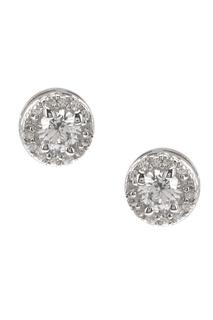 Серьги-гвоздики серебряные с кристаллами Exclaim