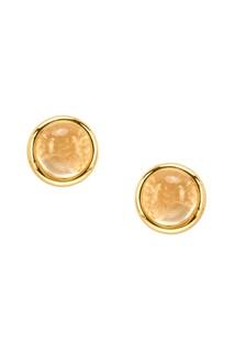 Золотистые серьги-гвоздики из серебра Exclaim