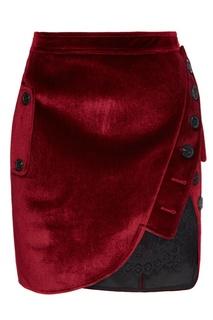 Красная бархатная юбка с кружевом Self Portrait