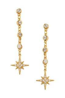Золотистые серебряные серьги со звездами Exclaim