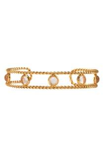 Золотистый браслет из серебра с кристаллами Exclaim