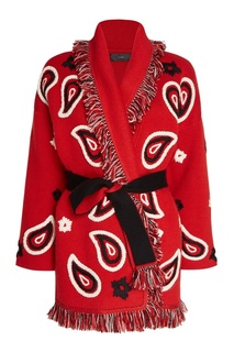 Кашемировый кардиган с вышивкой красный Alanui