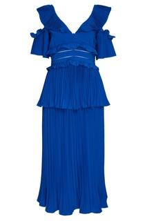 Синее платье с плиссировками Self Portrait