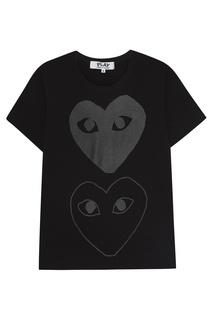 Черная футболка с принтом Comme Des Garcons Play