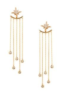Золотистые серьги из серебра с подвесками-цепями Exclaim