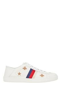 Белые кожаные кеды с вышивкой Ace Gucci