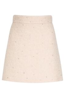 Шерстяная юбка с кристаллами Miu Miu